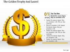 Stock Photo Golden Wreath Around Dollar Symbol Pwerpoint Slide