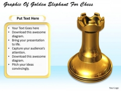 Stock Photo Graphic Of Golden Elephant For Chess PowerPoint Template