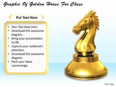 Stock Photo Graphic Of Golden Horse For Chess PowerPoint Template