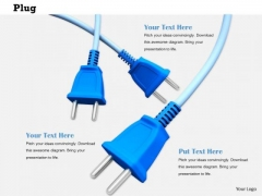 Stock Photo Graphics Of Blue Electricity Plugs PowerPoint Slide
