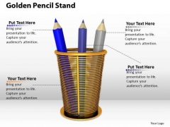 Stock Photo Graphics Of Golden Pencil Stand PowerPoint Slide