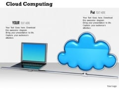 Stock Photo Graphics Of Laptop With Cloud Icon Pwerpoint Slide