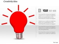 Stock Photo Graphics Of Red Shiny Bulb PowerPoint Slide