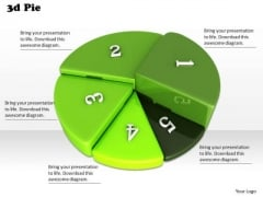 Stock Photo Green 3d Pie Chart For Result Analysis PowerPoint Slide