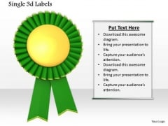 Stock Photo Green And Gold Medal For Winners PowerPoint Slide