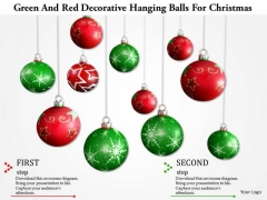 Stock Photo Green And Red Decorative Hanging Balls For Christmas PowerPoint Slide