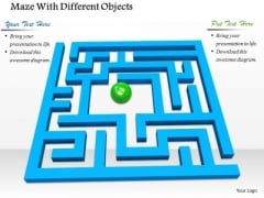 Stock Photo Green Ball In Center Of Blue Maze PowerPoint Slide