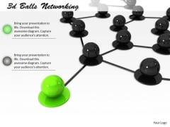 Stock Photo Green Balls Leading Black Balls In Network PowerPoint Slide