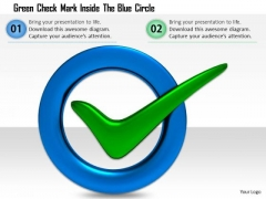 Stock Photo Green Check Mark Inside The Blue Circle PowerPoint Slide