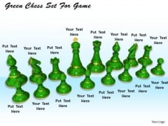 Stock Photo Green Chess Set For Game PowerPoint Template