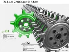 Stock Photo Green Gear Coming Out From Black Gears PowerPoint Slide