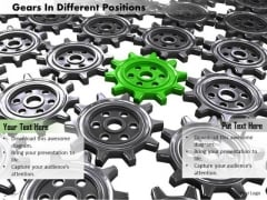 Stock Photo Green Gear In Center Of Black Gears PowerPoint Slide
