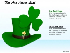 Stock Photo Green Hat With Clover Leaf PowerPoint Slide