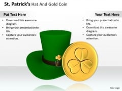 Stock Photo Green Irish Hat With Gold Coin PowerPoint Slide