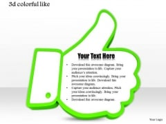 Stock Photo Green Like Symbol For Social Sites PowerPoint Slide