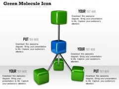 Stock Photo Green Molecule Icons Structured Solid Process PowerPoint Slide