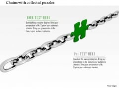 Stock Photo Green Puzzle Link In Silver Chain PowerPoint Slide
