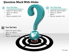 Stock Photo Green Question Mark On Globe PowerPoint Slide