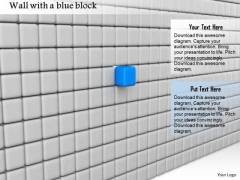 Stock Photo Grey Cube Wall With Blue Cube In Center PowerPoint Slide