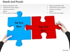 Stock Photo Hands Fixing Red And Blue Puzzles PowerPoint Slide