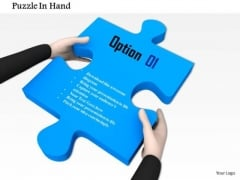 Stock Photo Hands Holding Blue Puzzle PowerPoint Slide
