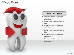 Stock Photo Happy Tooth On White Background PowerPoint Slide