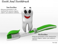 Stock Photo Happy Tooth With Toothbrush Pwerpoint Slide