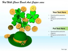 Stock Photo Hat With Gold Coins And Clover PowerPoint Slide