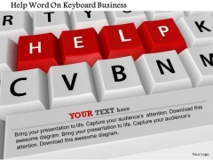 Stock Photo Help Word On Keyboard Business PowerPoint Slide