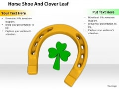 Stock Photo Horse Shoe And Clover Leaf PowerPoint Template