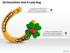 Stock Photo Horse Shoe And Green Clover Leaf PowerPoint Slide