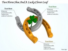 Stock Photo Horse Shoe With Lucky Clover Leaf Pwerpoint Slide