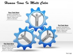 Stock Photo Human Icons In Turning Gears PowerPoint Slide