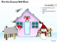 Stock Photo Hut With Snowman Winter Season PowerPoint Slide