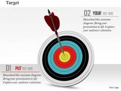 Stock Photo Illustration Of Arrow Hits The Bulls Eye PowerPoint Slide