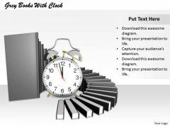 Stock Photo Illustration Of Books With Alarm Clock PowerPoint Slide