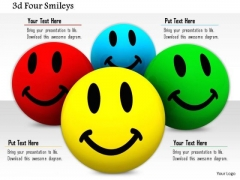 Stock Photo Illustration Of Colorful Smiley Faces PowerPoint Slide