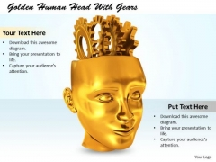 Stock Photo Illustration Of Human Face With Gears PowerPoint Slide
