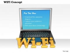 Stock Photo Illustration Of Laptop With Wi Fi Text Pwerpoint Slide