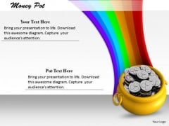 Stock Photo Illustration Of Money Pot With Rainbow PowerPoint Slide