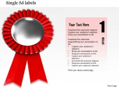 Stock Photo Illustration Silver And Red Medal PowerPoint Slide