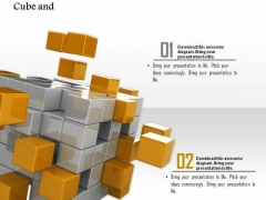 Stock Photo Illustration Silver And Yellow Cubes PowerPoint Slide