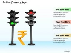 Stock Photo Indian Currency Sign In Traffic Lights PowerPoint Slide