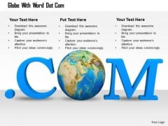 Stock Photo Internet Photo With Dot Com Text Globe Inside PowerPoint Slide