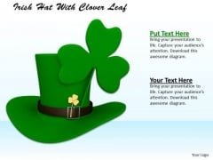 Stock Photo Irish Hat With Clover Leaf PowerPoint Template