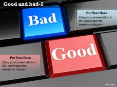 Stock Photo Keys Of Bad And Good Words PowerPoint Slide