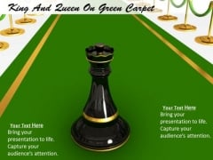 Stock Photo King Of Chess On Green Carpet PowerPoint Slide