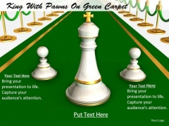 Stock Photo King With Pawns On Green Carpet PowerPoint Slide