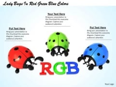 Stock Photo Lady Bugs In Red Green Blue Colors PowerPoint Template
