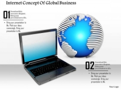 Stock Photo Laptop And Globe Textured Global Business PowerPoint Slide